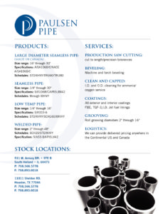 Paulsen Pipe Product and Services & Pipe Chart Brochure